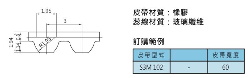 時規皮帶輪-S3M 102皮帶